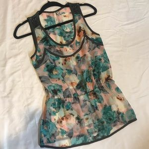 Nordstrom Bellatrix Gray Floral Sleeveless Blouse